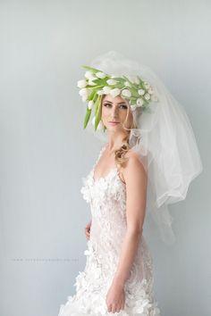 LEEF shoot - bridal styled shoot - flower crown and veil- wedding dress Wedding Dress With Veil, Wedding Dresses, Floral Crown, Floral Hair, White Tulips, Bridal Shoot, Bridal Headpieces, Her Hair, Wedding Hairstyles