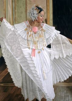 Pollera in White is traditionally used for weddings in the republic of Panama
