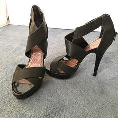 Madden girl heels These sandal heels are a size 9 black. Very cute for the summer! I believe they are about a 4 inch heel. Only worn once and I kept them in my closet thinking I would wear them again. Practically brand-new Madden Girl Shoes Heels
