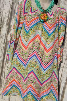 Chevron /Floral Print Dress
