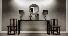 silver wallpaper dramatic entrance interior apartment design