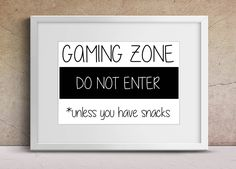 Gamer Art, Gaming Zone Do Not Enter, Bedroom Print, Boys Room Art, Fun Kids Bedroom Print, Game Room Decor,  Quote Print, A4 Video Game by peenanator on Etsy
