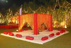 Typical Indian wedding mandap with gadda seating all around Wedding Stage Decorations, Marriage Decoration, Indian Wedding Receptions, Wedding Mandap, Indian Weddings, Mandap Design, Peach Wedding Invitations, Romantic Weddings, Peach Weddings