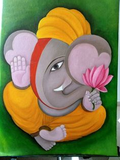 Original Religious Painting by Nikita Hemchand Ganesha Sketch, Ganesha Drawing, Lord Ganesha Paintings, Ganesha Art, Simple Canvas Paintings, Canvas Art, Painting Canvas, Painting Tips, Abstract Paintings