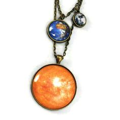 moon and earth necklace | ... Necklace Astronomy Sun Earth and Moon Planet Necklace Science Jewelry