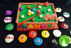 Shoot a ball with this billiard-inspired birthday cake and adorable billiard ball cupcakes! Pretty cool and fantastic! ^_^  #billiards #cupcakes #birthdaycake #edible #cagayandeoro