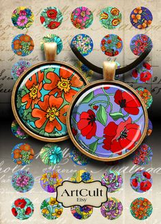 FLOWER GARDEN - Digital Collage Sheet 1 inch size and 1.5 inch size Circle Images Printable Download for pendants bottlecaps magnets
