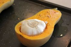 Roasted Garlic & Butternut Soup - this recipe is simple and delicious. The garlic flavour roasts right into the butternut. After blending, the soup is velvety and smooth. Garlic Soup, Roasted Garlic, Roasted Butternut Squash Soup, Fall Recipes, Soup Recipes, Cooking Recipes, Garlic Recipes, Diabetic Recipes, Vegetarian Recipes