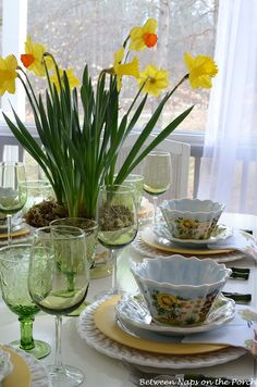 Another shot from the Daffodil tablescape on Between Naps on the Porch! #Colorwave #Mustard