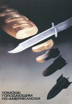 Resultado de imagen para grafica cartél soviético 1970 ayudas humanitarias norteamerica