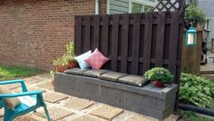 A cinder block bench made with left over cinder blocks from a previous project. Less then $50