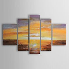 landskap abstrak dilukis tangan lukisan minyak set 5 1302-ab0312 – USD $ 149.99
