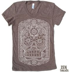 Women's DAY Of The DEAD TShirt american apparel S M by ZenThreads, $18.00