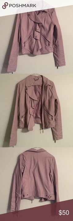 Unique lavender faux leather jacket Purchased at a boutique in NYC this jacket has a unique asymmetrical zip with a ruffled front. Jackets & Coats