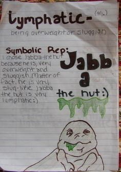 May the Fourth be with You!  It's May 4th, and I loved Lexxie's vocabulary metaphor (which I actually graded on May 2nd) for the word lymphatic. So what? I'm a huge Star Wars nerd, and I can still be pandered to by my students. Thanks, Lexxie. Check out my vocabulary materials online: http://corbettharrison.com/Vocabulary.htm