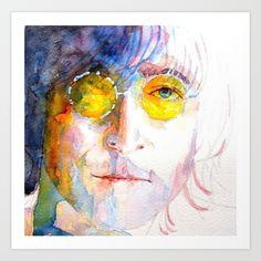 John Winston Lennon  Art Print by Paul Lovering Watercolors - $24.96