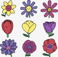 Vector MaterialChild TrainingCartoon FlowersSmiling FaceSpring Flowers Cartoon