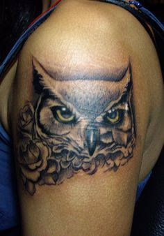 owl and rose tattoo by crimson-touch.deviantart.com