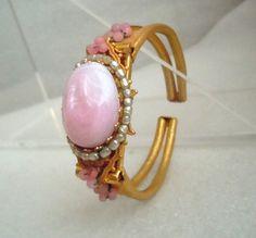 Miriam Haskell Bracelet, Pink Art Glass Clamper Bracelet by Miriam Haskell