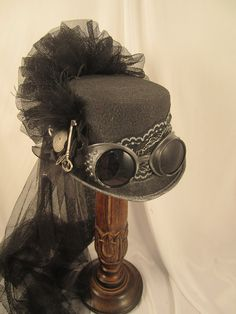 Steampunk Gunmetal Black/Gray Felt Riding Hat with Goggles and Clock Parts