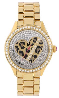 Betsey Johnson Women's Heart Animal Face Gold Band Watch BJ00131-20 MSRP $115.00 #BetseyJohnson #Fashion