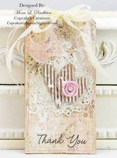 This is one of four tags that I made for an upcoming class that I will be teaching. Card Tags, Gift Tags, Card Kit, Birthday Tags, Shabby Chic Cards, Handmade Tags, Vintage Tags, Vintage Bookmarks, Thank You Tags