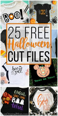 25 Free Halloween Cut Files Look at all these fun free Halloween cut files! Use these free Halloween SVGs with your Silhouette or Cricut to craft up some Halloween shirts. The post 25 Free Halloween Cut Files & Cricut appeared first on Free . Halloween Vinyl, Theme Halloween, Halloween Projects, Disney Halloween Shirts, Halloween Makeup, Happy Halloween, Halloween Crafts To Sell, Halloween Decorations, Halloween Designs