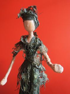 Most of the sculptures shown are completed using a textile hardener, Powertex. Refer to the Powertex page for product information. Paper Decorations, Faeries, Sculptures, Textiles, Statue, Wall Art, Lady, Attitude, Green