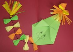 Šarkan - origami Autumn Activities For Kids, Fall Preschool, Paper Crafts For Kids, Diy And Crafts, Origami, Kite Making, Board Decoration, Kindergarten, Creations
