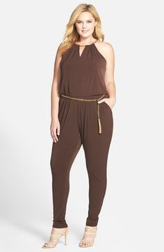 """MICHAEL Michael Kors Chain Neck Jumpsuit (Plus Size) A gleaming goldtone chain strap, echoing the tassel-trimmed belt, gathers the halter-style keyhole neckline of a chic and easy jumpsuit in a tapered-leg cut of fluid matte jersey.  60"""" length; 32"""" inseam; 11"""" leg opening (size 2X). Hidden back-zip closure. Removable chain belt with clasp closure. Unlined. 95% polyester, 5% elastane. Dry clean or machine wash cold, dry flat. By MICHAEL Michael Kors; imported. Encore.available at #Nordstrom"""