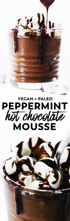 Easy and ultra decadent collide in this Peppermint Hot Chocolate Mousse. Vegan, paleo, only 5 ingredients, and holiday dessert perfect! #vegan #paleo #chocolate #christmas #easy