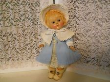 Vintage Vogue Transitional Ginny Strung Doll in Waffle Coat Bonnet CS Shoes