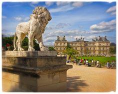 Paris Photography, Luxembourg Garden, Lion Statue, Paris in the Springtime, 8x10 Fine Art Photograph, Unique Paris Decor