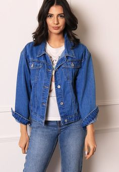 ad1d2f0d8c2 Mid Wash Boxy Fit Denim Jacket in True Blue – One Nation Clothing Online  Boutiques