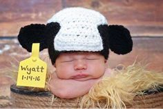 What an adorable idea! Newborn baby pictures from on the farm