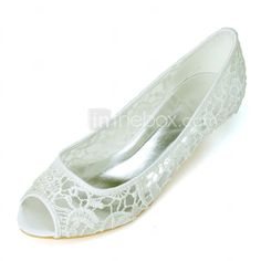 Women S Spring Summer Fall Lace Wedding Party Evening Low Heel Black Pink Ivory White