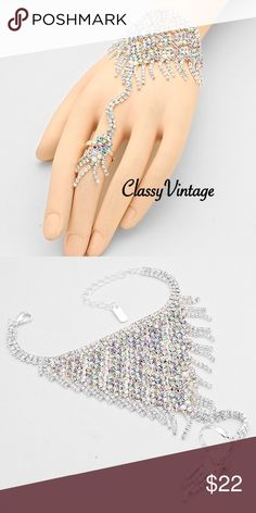 Stunning ring bracelet combo Stunning bracelet ring combo in multi faceted light catching stones. These are similar to Australian Chrystal's as they change color in light. Ring is adjustable Christina Collection Jewelry Bracelets