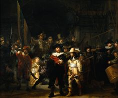 """Rembrandt (1606-1669)  The Company of Frans Banning Cocq and Willem van Ruytenburch, known as the 'Night Watch'  Oil on canvas  1642  437 x 363 cm  (14' 4.05"""" x 11' 10.91"""")  Rijksmuseum (Amsterdam, Netherlands)"""