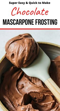 This rich and creamy chocolate mascarpone frosting is simple to make and holds it shape for decorating layer cakes. Light and fluffy and made with only 5 ingredients, it's everything you want a frosting to be. Mascarpone Frosting Recipe, Mascarpone Recipes, Frosting Recipes, Cupcake Recipes, Cupcake Cakes, Dessert Recipes, 12 Cupcakes, Mascarpone Substitute, Cake Filling Recipes