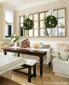 This does it for me! A banquette and old windows with mirrors would be  great on the wall next to french doors. Elegant Chicago Holiday Home | Traditional Home