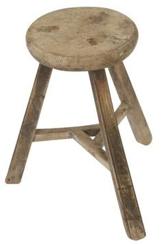 Wood stool for use as a table, or I could just get a really tiny table.