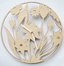 Floral Design clock, Laser cut clock, wooden clock by DomusDecorClocks Cnc, White Clocks, Diy Inspiration, Wall Clock Design, Wood Clocks, Large Clock, Wooden Crafts, Wooden Walls, Unique Home Decor