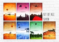 Star Wars Episode I-VII Minimalist Art Poster Print Set - Wall Art - Star Wars Poster - Set of all 7 prints - (Available In Many Sizes)
