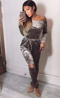 Off the shoulder long sleeve velvet tracksuit with knee cut out Details - Polyester - Velour - Imported - Delicate Cold Wash - Fits True To Size
