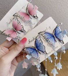 [Xwen] Butterfly Personality Children Girls Hairpin Headwear Clip Korean Ancient Style Vantage Fashion Hair Accessories OH2006 Wholesale Hair Accessories, Hair Accessories For Women, Fashion Accessories, Fashion Jewelry, Cute Jewelry, Hair Jewelry, Kpop Earrings, Bridal Jewelry Vintage, Magical Jewelry