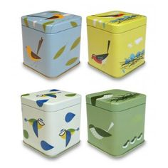 Magpie Set of Four Birdy Spice Tins