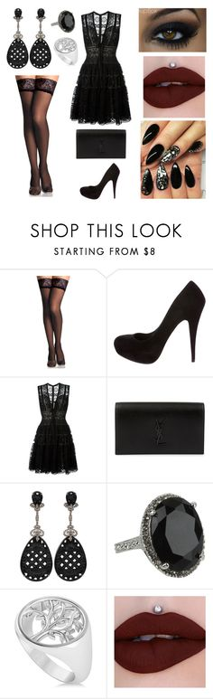 """""""Alice Caroline Device / 18.02.11"""" by jade-rose-872 ❤ liked on Polyvore featuring Miu Miu, Elie Saab, Yves Saint Laurent, Bochic, GUESS and Allurez"""