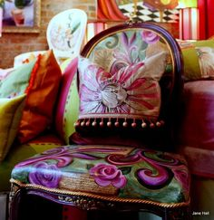 This reupholstered chair is yummy