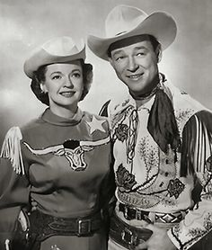"Dale Evans and Roy Rogers for 'The Roy Rogers Show', 1951 - My mom took me to see Roy Rogers at a ""Roy Rogers"" in our town in either '79 or '80 and as a momento she bought me a Cowgirl Barbie in her silver western wear with blue eye shadow. The things you remember."