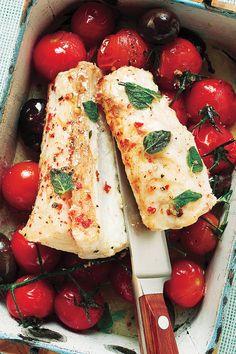 Baked Monkfish Alkaline Recipes, Alkaline Foods, Healthy Recipes, Monkfish Recipes, Fish And Seafood, Caprese Salad, Entrees, Food And Drink, Magazine